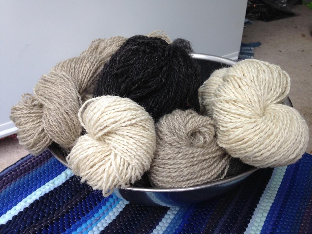 Skeins of handspun wool yarn
